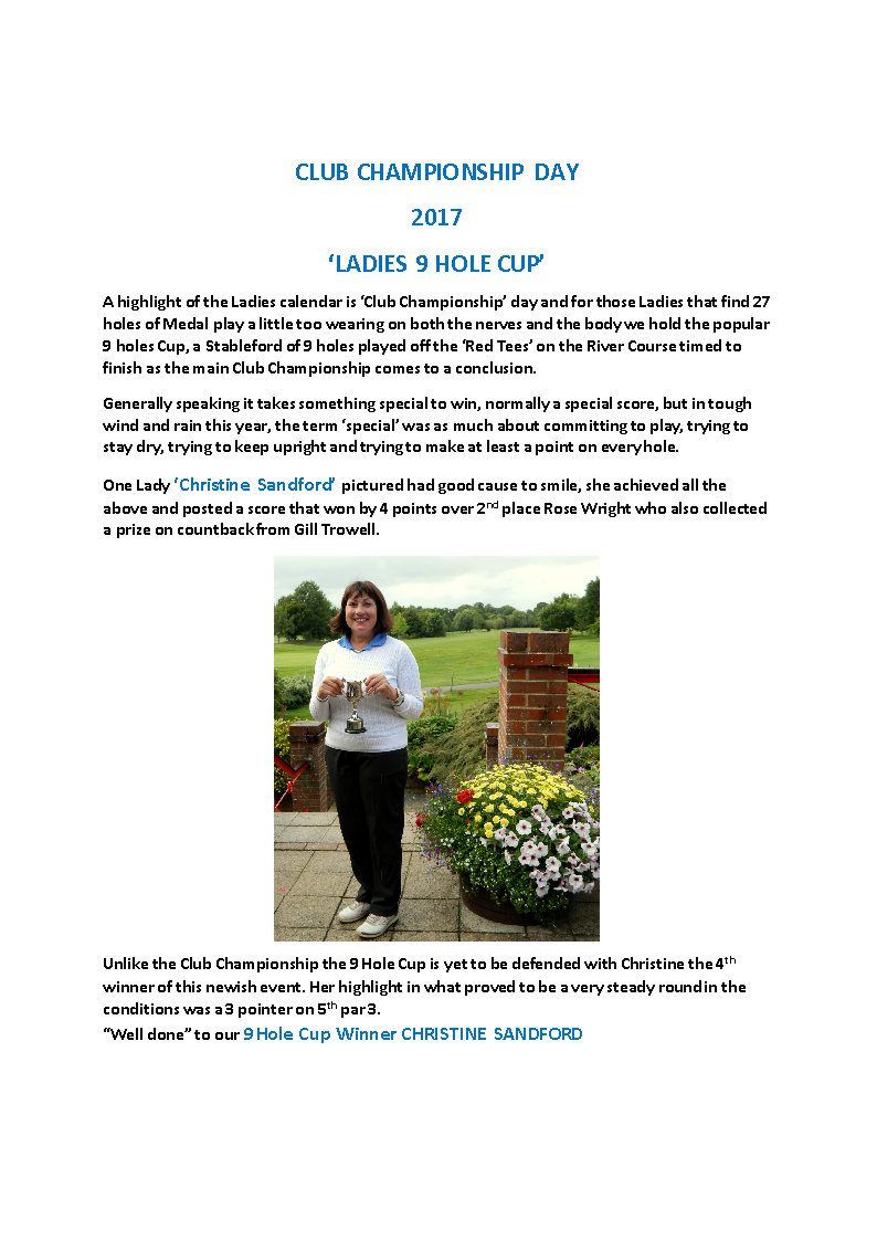 9 Hole Cup Newsletter