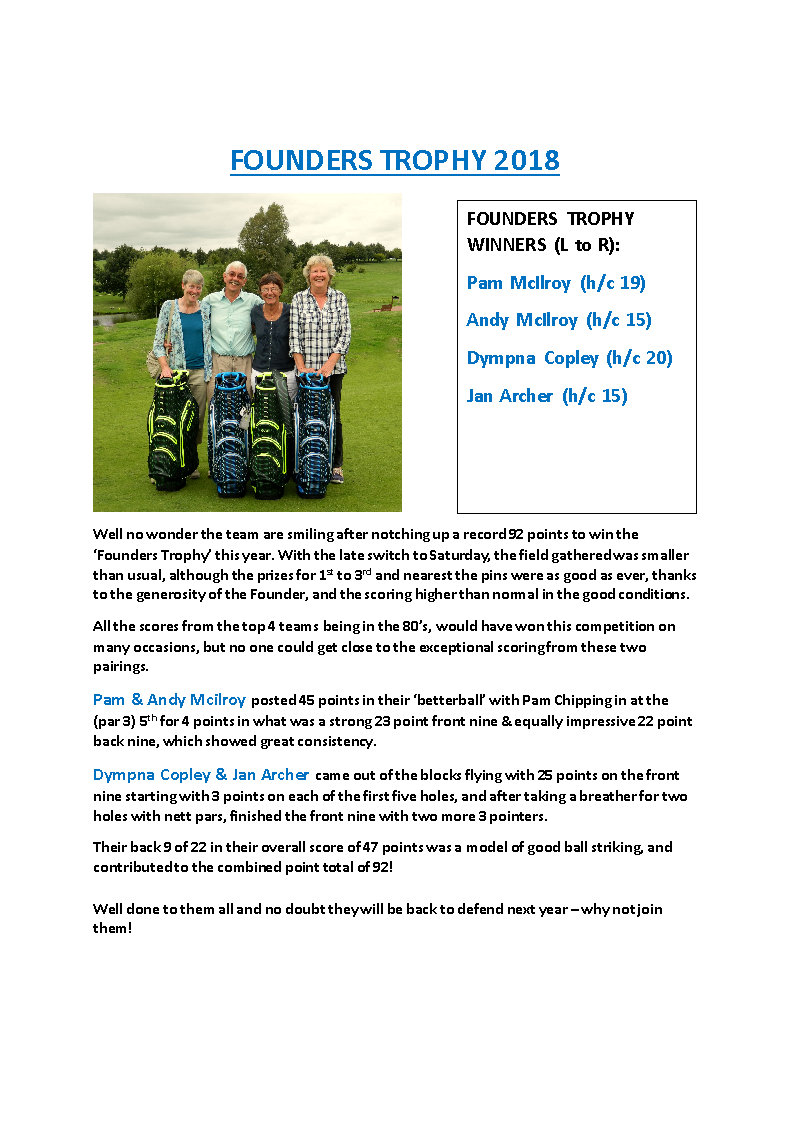 FOUNDERS TROPHY 2018 Newsletter