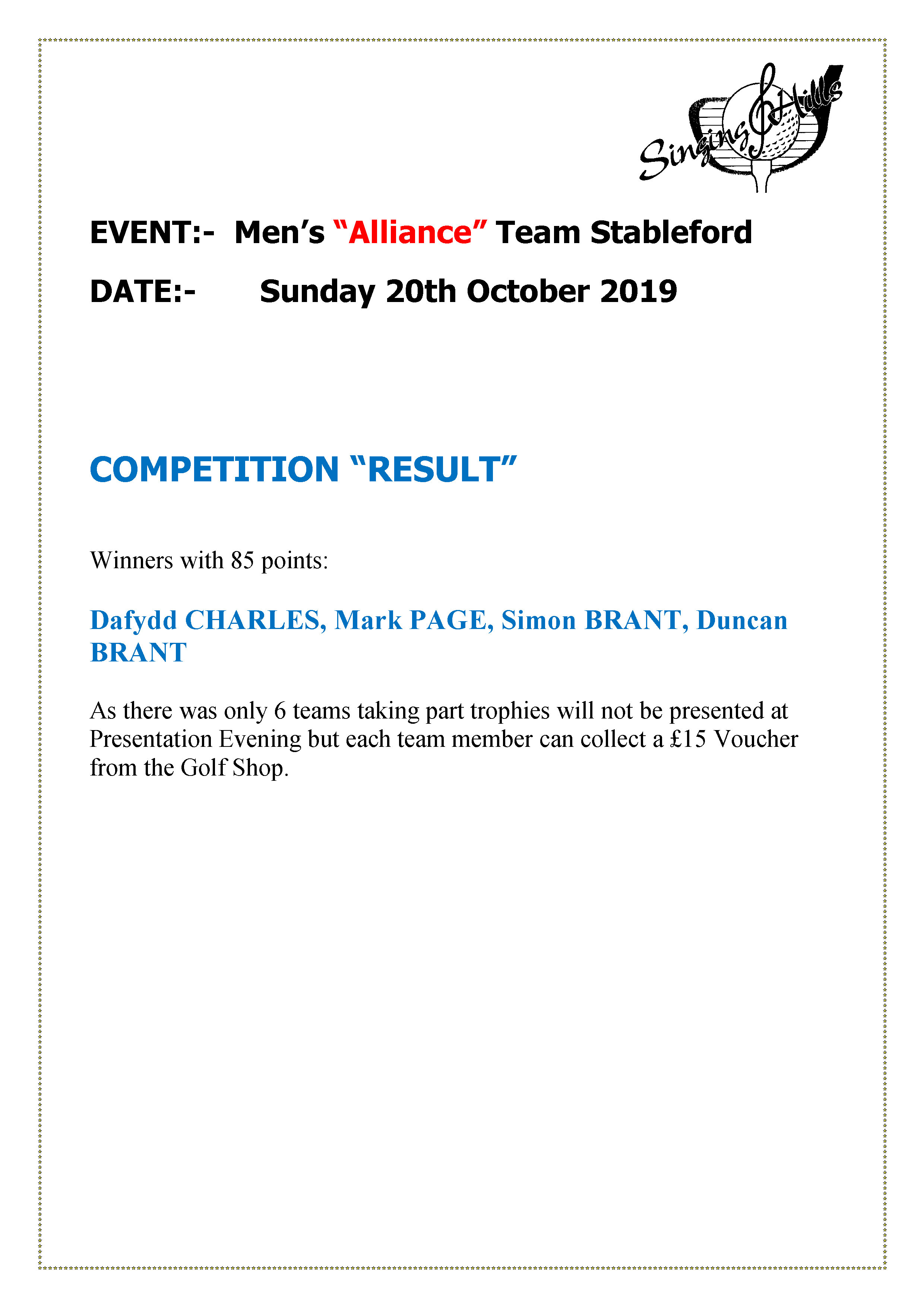 alliance team stableford201019result