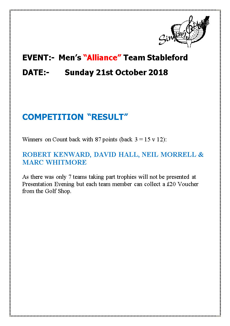 alliance team stableford211018result